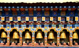 Bhutan Buddhism Prayer Wheels in temple Royalty Free Stock Photos
