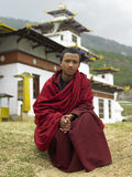 Bhutan - Buddhist Monk. A young Buddhist monk at a monastery neat Thimphu in the Kingdom of Bhutan Royalty Free Stock Image