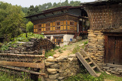 Bhutan, Bumthang,. Bhutan, home built in traditional structure royalty free stock photography
