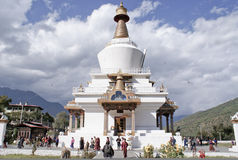 bhutan chorten minnes- nationella thimphu Royaltyfri Fotografi