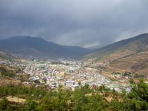 Bhutan city in a valley Royalty Free Stock Photography