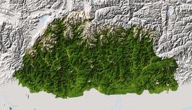 Bhutan, in de schaduw gestelde hulpkaart. Stock Fotografie