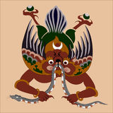Bhutan  demon. Bhutan   bird - demon with snake Royalty Free Stock Photos