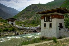 Bhutan-Dorf-Ansicht lizenzfreie stockbilder