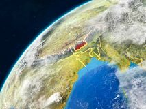 Bhutan on Earth with borders. Bhutan on realistic model of planet Earth with country borders and very detailed planet surface and clouds. 3D illustration royalty free stock images