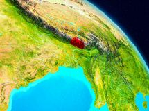 Bhutan on Earth. Space view of Bhutan highlighted in red on planet Earth. 3D illustration. Elements of this image furnished by NASA Stock Photo