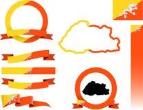 Bhutan-Fahnen-Satz Stockbilder