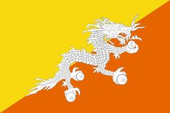 Bhutan flag. Bhutan national flag. Illustration on white background Stock Images
