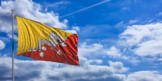 Bhutan flag on a blue sky background. 3d illustration Royalty Free Stock Image