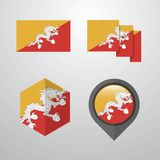 Bhutan flag design set vector. This Vector EPS 10 illustration is best for print media, web design, application design user interface and infographics with stock illustration