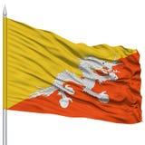 Bhutan Flag on Flagpole Stock Image