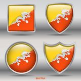 Bhutan flaga w 4 kształtach inkasowych z ścinek ścieżką Zdjęcie Royalty Free