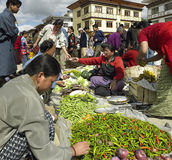 Bhutan - Food market - Town of Paro stock image