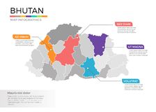 Bhutan het vectormalplaatje van kaartinfographics met gebieden en wijzertekens stock illustratie