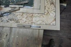 Bhutan houten gravure in progess Royalty-vrije Stock Fotografie