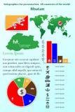 bhutan Infographics per la presentazione Tutti i paesi del mondo Fotografia Stock Libera da Diritti