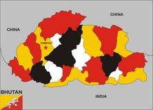 Bhutan kaart Royalty-vrije Stock Afbeeldingen