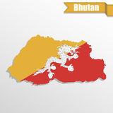 Bhutan map with flag inside and ribbon Royalty Free Stock Image