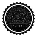 Bhutan Map Label with Retro Vintage Styled Design. Stock Image
