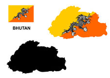 Bhutan map vector, Bhutan flag vector, Bhutan Royalty Free Stock Image