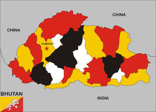 bhutan mapa Obrazy Royalty Free