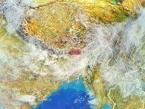 Bhutan na ziemi od przestrzeni royalty ilustracja