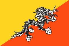 Bhutan nationale vlag royalty-vrije illustratie