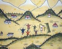 Bhutanese house with archery paintings - Bhutan stock photography