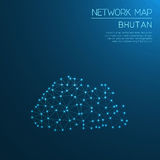 Bhutan network map. Abstract polygonal map design. Internet connections vector illustration Stock Photography