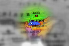 Kingdom of Bhutan. Bhutan, officially the Kingdom of Bhutan. black and white selective focus Royalty Free Stock Photos