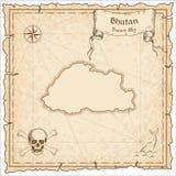 Bhutan old pirate map. Stock Photos