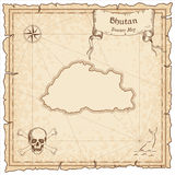 Bhutan old pirate map. Royalty Free Stock Image