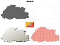 Bhutan outline map set Stock Images