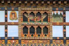 Bhutan, Paro. Bhutan, decorated facade of a home in Paro royalty free stock photo