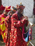 Bhutan - The Paro Tsechu. Musicians at the Paro Tsechu in the Kingdom of Bhutan. Tsechu are annual religious Bhutanese festivals held in each district or Stock Photography