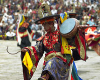 Bhutan - Paro Tsechu. Dancers at Paro Tsechu (religious festival) in the Kingdom of Bhutan - The Land of the Thunder Dragon Stock Photo