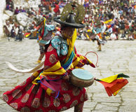 Bhutan - Paro Tsechu. Dancers at Paro Tsechu (religious festival) in the Kingdom of Bhutan - The Land of the Thunder Dragon Royalty Free Stock Images
