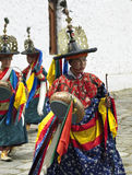 Bhutan - Paro Tsechu (Buddhist Festival). Dancers at the Paro Tsechu (Buddhist religious festival) in Paro Dzong in the town of Paro in the Kingdom of Bhutan Stock Photo