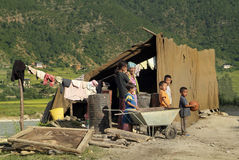 Bhutan, Punakha, Mensen royalty-vrije stock afbeeldingen