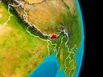 Bhutan on Earth. Bhutan in red on planet Earth with visible borderlines. 3D illustration. Elements of this image furnished by NASA Stock Photography