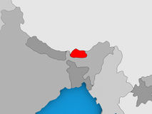 Map of Bhutan. Bhutan in red on political map. 3D illustration Stock Photography