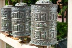 Bhutan religijni modlitewni koła zdjęcie royalty free