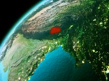 Bhutan from space in evening. Evening over Bhutan as seen from space on planet Earth. 3D illustration. Elements of this image furnished by NASA Stock Photos