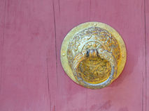 Bhutan style metal door knob Royalty Free Stock Image