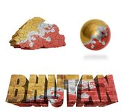 Bhutan Symbols. Bhutan flag and map in different styles in different textures Stock Image