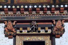 Bhutan, Thimpu,. Bhutan, reliefs and symbols at door in Thimpu Dzong stock photos