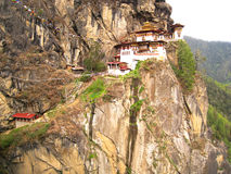 Bhutan - Tiger Monastery. The Tiger Monastery nestlled in the side of a cliff at Paro, Bhutan Stock Photography