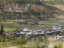 Bhutan - Town of Paro. The town of Paro in the Paro Valley in the Kingdom of Bhutan high in the Himalayas Stock Photo