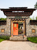 Bhutan traditional entrance gate in nature Stock Photography