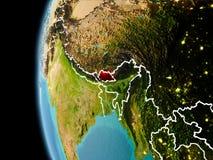 Bhutan van ruimte in avond Royalty-vrije Stock Fotografie